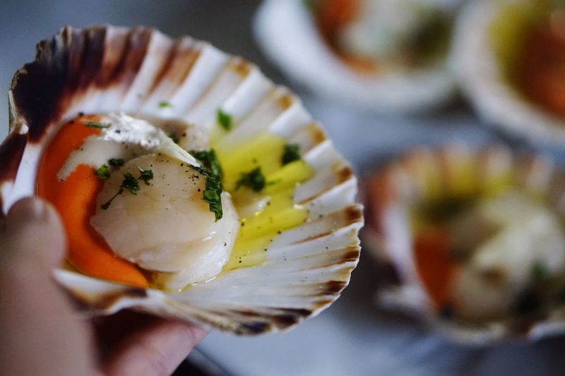Holding Food And Drink SHELLFISH  Fingerfood Meal Italian Food Seashell Freshness Ready-to-eat Human Hand Holding Food Visual Feast