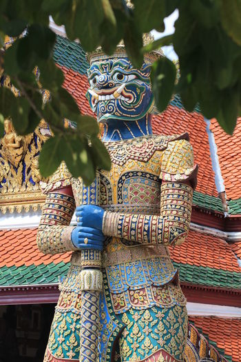 Close up colorful porter giants temple gate Bangkok Sanam Luang Bangkok Thailand Wat Phra Keaw Architecture Art And Craft Building Exterior Built Structure Chinese Dragon Close Up Creativity Day Destination Dragon Human Representation Landmark Multi Colored No People Outdoors Place Of Worship Porter Giants Temple Gate Religion Sculpture Spirituality Statue