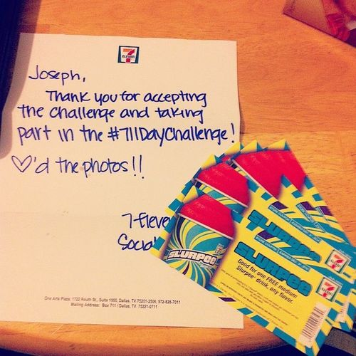 Such a cool letter to wake up to! 7-11 is the best ❤️? 711  7Eleven  711daychallenge Slurpeemaster awesome bestfriends FREESLURPEES thankyou ??