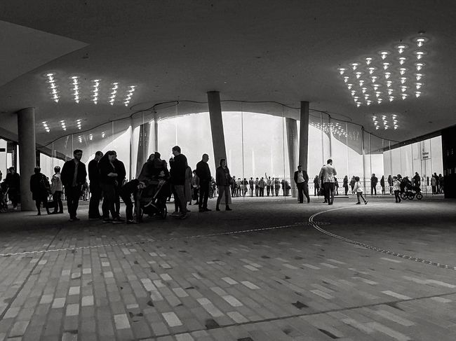 Large Group Of People Architecture Built Structure Real People Illuminated Indoors  Day Monochrome Light And Shadow Travel Tourism Black & White Bnw Blackandwhite Photography Travel Destinations Black And White Hamburg City Modern Modern Architecture Architecture Silhouette Elbphilharmonie Indoors