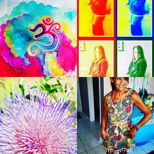 collage me and my flowers and my weird Buddha California Dreamin