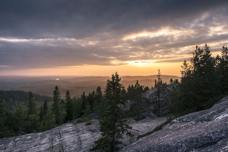 Scenic landscape with sunset at summer evening at Koli, National Park, Finland Atmosphere Atmospheric Mood Beauty In Nature Cloud - Sky Colorful Eveninf Finland Forest High Hill Horizon Over Land Landscape Lifestyles Mountain National Park Nature No People Outdoors Scenics Sky Sky And Clouds Sunlight Sunset Tranquil Scene Tranquility