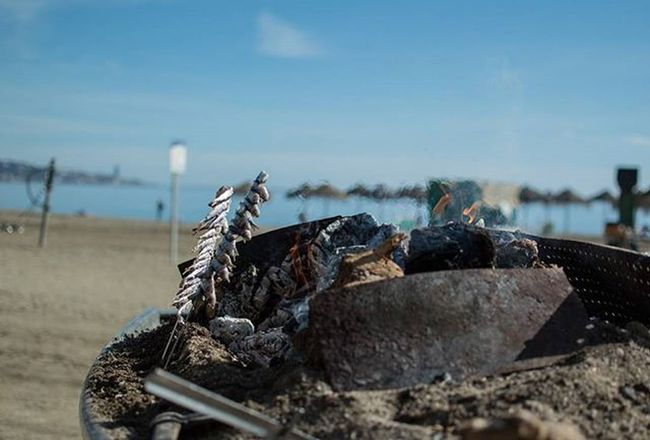 Malagueta Beach Sardines Travel CostadelSol SPAIN Beach Food