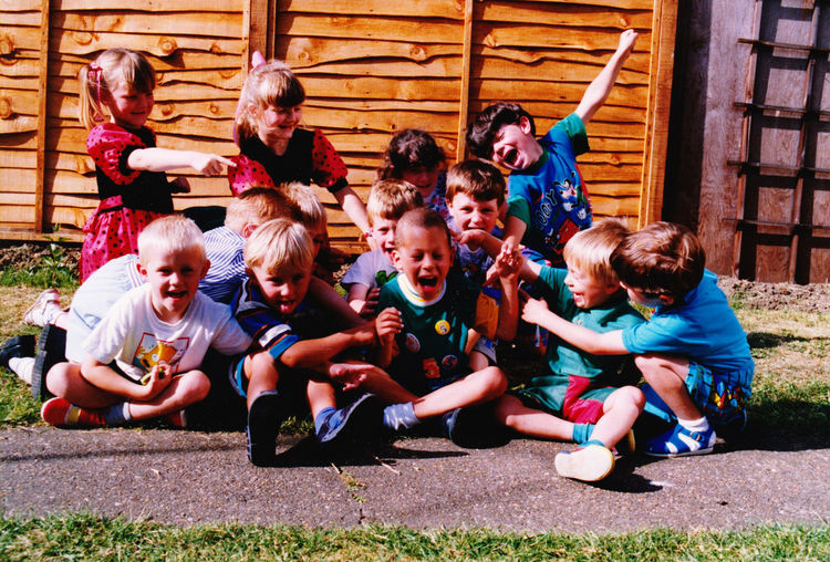 Russell's 5th birthday party Sitting Fun Togetherness Enjoyment Outdoors Children Playing Happiness Friendship Leisure Activity Day Birthday Gathering With Friends Birthdaygames in the garden having fun film photography