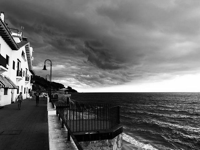 Storm EyeEmNewHere Eye4photography  EyeEm Gallery Blackandwhite Photography Black & White Blackandwhite Iphonephotography Iphoneonly IPhoneography Sky_collection Skyporn Sky And Clouds Skyscraper Perspective Landscape Storm Storm Cloud Sky Sea Water Cloud - Sky Beach Horizon Nature Horizon Over Water Built Structure Scenics - Nature