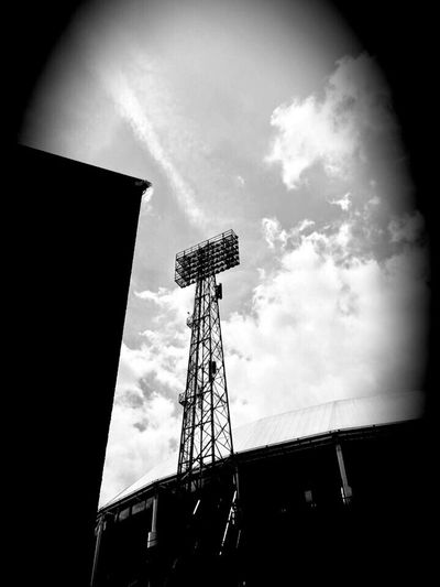 Low Angle View Sky No People Cloud - Sky Built Structure Outdoors Architecture Day IPhoneography Dekuip Rotterdam Soccer Stadium Blackandwhite