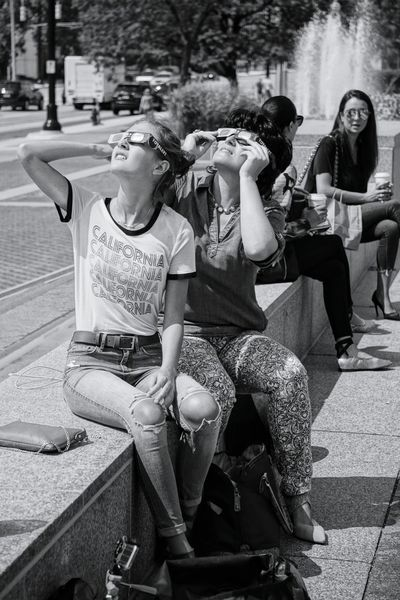 memory making Mother & Daughter Solar Eclipse 2017 Eclipse Glasses The Week On EyeEm EyeEmNewHere EyeEm Selects Eclipse Of The Sun Glasses Series Detroit, MI Togetherness Bonding Women Full Length Females Outdoors Two People EyeEm Black And White Portrait Space And Astronomy Galaxy Eclipse Portrait Black And White Photography Sitting Day Portrait