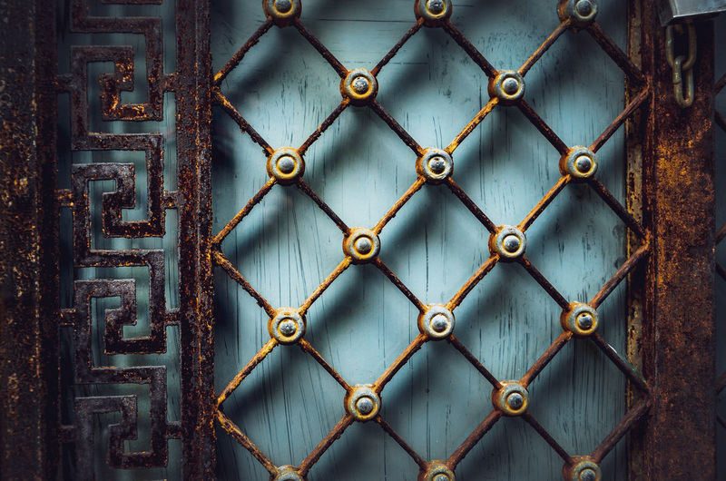 #urbanana: The Urban Playground 3D Backgrounds Barrier Boundary Chainlink Fence Close-up Day Design Detail Details Textures And Shapes Fence Full Frame Gate Light And Shadow Metal No People Ornate Outdoors Pattern Protection Rusty Safety Security Shape