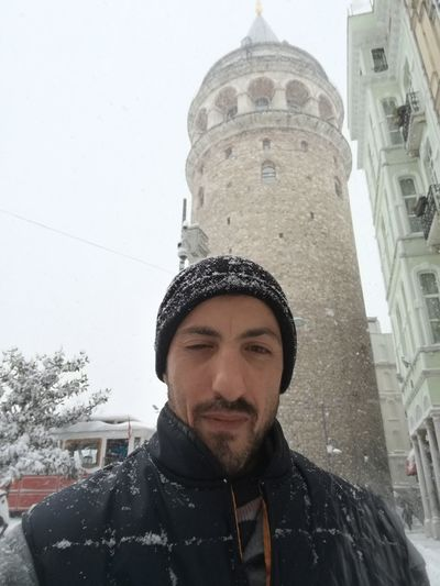 Beard Adults Only Only Men Headshot One Man Only One Person Portrait Adult People Close-up Outdoors Day Snow ❄ Huawei P9 Leica Galata Tower Galatakulesi