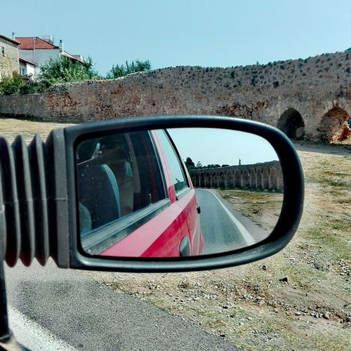 The Drive Car Transportation Mode Of Transport Land Vehicle Sky Car Interior Stationary No People Tree Outdoors Day Vehicle Mirror Castle Ruin @ancient Summer Time  Exploring Greece