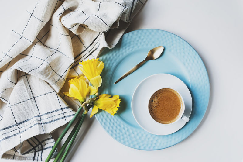set of dishware on white table top view. Indoors  No People Still Life Table Crockery Plate Dishware Kitchen Spring Set Table Setting Eating Utensil Dining Cutlery Glass - Material Stylish Elegant Modern Flat Lay Top View Colours Springtime