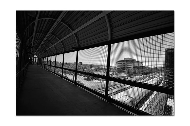 Railroad Overpass 3 C.L. Dellums Amtrak Station Okj Port Of Oakland,Ca. Jack London Square Railroad Overpass Platform & Track Union Pacific Railroad Pedestrian Crossing Elevated Walkway Architecture Architecture Architectural Detail Concrete Steel Screened Arched High Angle View Trains Buildings Tracks Roadway Monochrome Black & White Black & White Photography Black And White Black And White Collection  Railroad Photography Train Photography Urban Scene