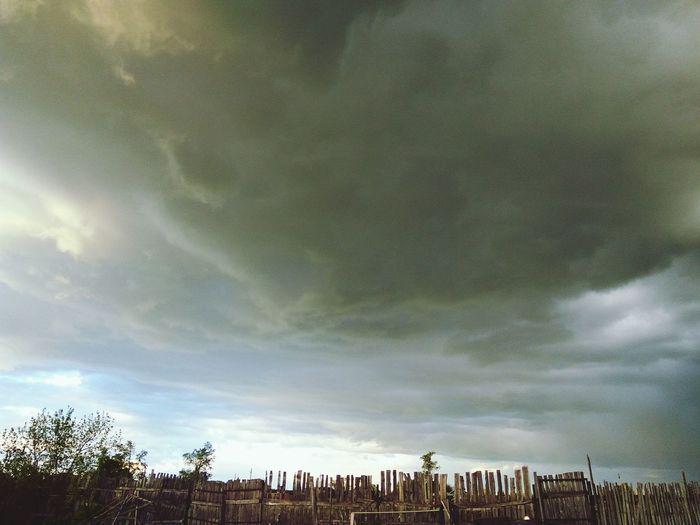 Thunderstorm sky, wooden fence in summer Thunderstorm Clouds And Sky Rainy Days Storm Cloud Sky Tree Sky Cloud - Sky Storm