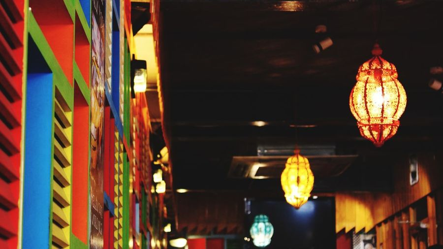 Colours. EyeEmNewHere Lines And Lights Bright Colors Natural Colours Blurred Hanging Lights Bright Decor Cafe