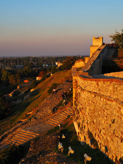 European Cities Belgrade Serbia Eastern Europe Balkans Europe Architecture Sky Built Structure Nature Outdoors Golden Hour Evening Sun Travel Destinations Travel Photography The Past Historical Place Building Exterior History High Angle View Tourism Landscape Wall Building Travel Sunset