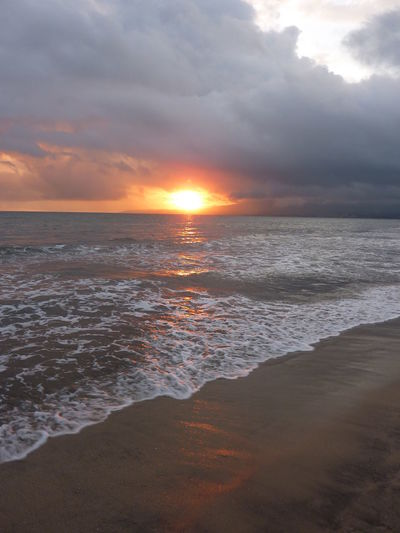 Beach Beauty In Nature Cloud Cloud - Sky Cloudy Horizon Over Water Idyllic Mexico Nature Orange Color Reflection Scenics Sea Shore Sky Sun Sunset Sunsets Tranquil Scene Tranquility Vacation Water Wave Waves Waves, Ocean, Nature