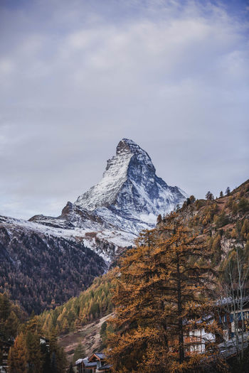 The Matterhorn. Mountain Sky Beauty In Nature Environment Landscape Cloud - Sky Nature Snow Scenics - Nature Cold Temperature No People Winter Mountain Range Mountain Peak Day Tranquility Tranquil Scene Rock Outdoors Formation Snowcapped Mountain High