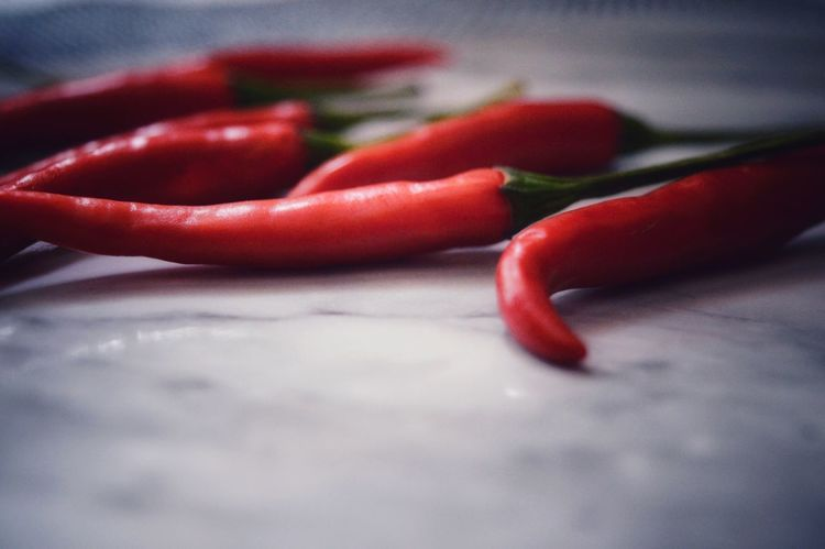 Hot, hot, hot. Red Color Colorsplash Deapth Of Field Nikon D3200 Macro Photography Color Photography EyeEm New Here EyeEmNewHere Macro Food And Drink Display Nikonphotography Red Food Food And Drink Spice Pepper - Vegetable Ingredient Healthy Eating Close-up Indoors