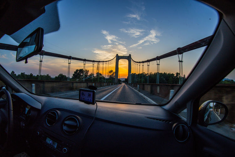 """""""♬Long drive... could end in burning flames or paradise♬""""🤔😁📻 Bridge View Driving Dusk Motion Outdoors Passengers Sky The Drive Travel Lyrics On My Mind"""