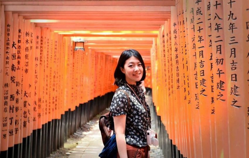 Standing Only Women One Person Adults Only Black Hair Happiness Smiling Outdoors Japan Kyoto Orange Color