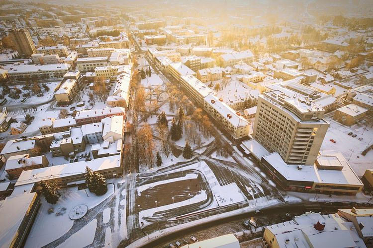 Winter sunset | Aerial View City Cityscape My Year My View Snow Architecture Travel Destinations Outdoors Travel Building Exterior High Angle View Built Structure Winter Road Landscape Day Tree Cold Temperature Downtown District Lietuva Sunset Drone  Dronephotography Dji Phantom Phantom 3 Advanced
