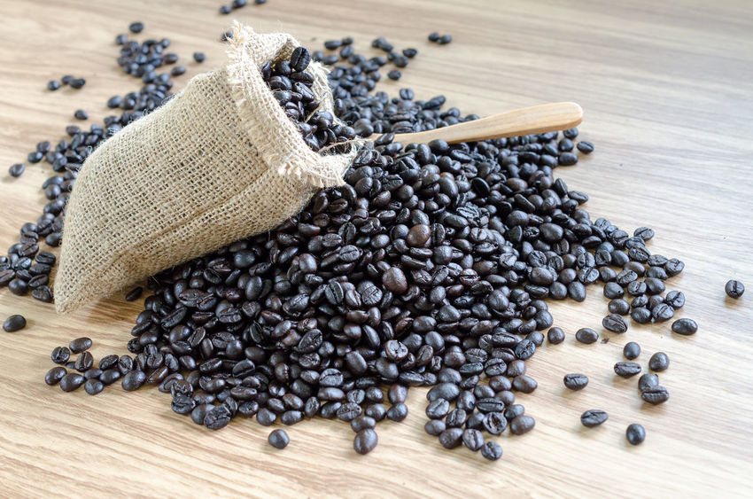 Black Color Black Peppercorn Close-up Day Food Food And Drink Freshness Healthy Eating Indoors  No People Roasted Coffee Bean Sack Table Wood - Material