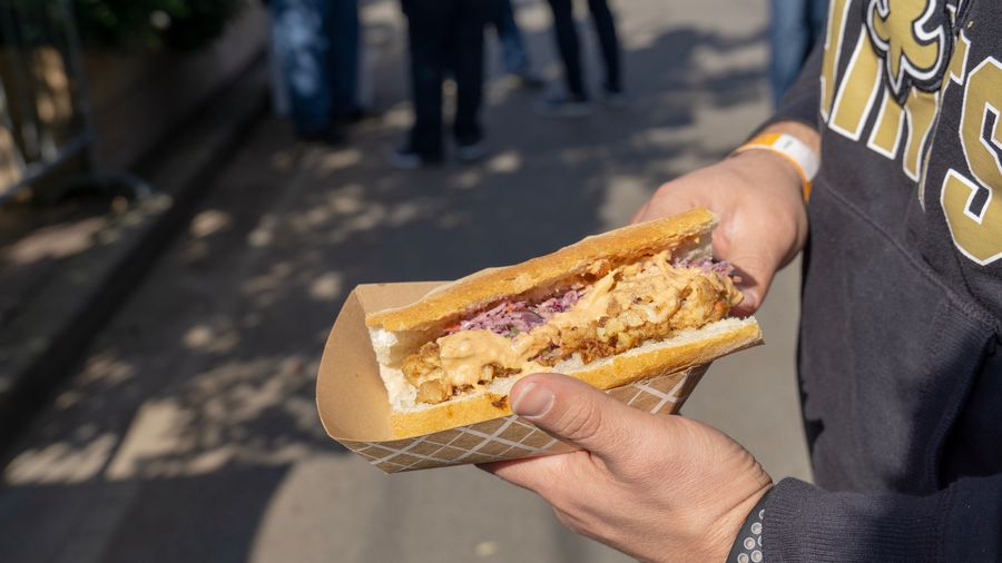 Poboy Food Photography Poboys Festival New Orleans Poboy Sandwich Human Body Part Food And Drink Freshness Day Unhealthy Eating Sunlight Real People Road Outdoors Men Focus On Foreground Lifestyles Snack