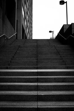 Architecture Blackandwhite Building Building Exterior Built Structure City City Life Day Diminishing Perspective Low Angle View No People Outdoors Sky Staircase Stairs Steps Steps And Staircases Streetphotography Street Photography Downtown Denver Colorado