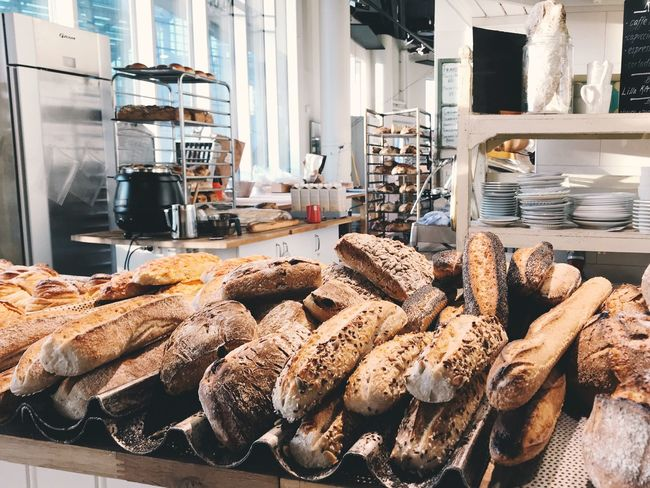 At the bakery Fresh Baked Fresh Bread Gluten Breadmaking Bread Food Baked Goods Bake Baking Baking Bread Food Indoors  Food And Drink Freshness No People Abundance Loaf Of Bread Bakery Large Group Of Objects Shelf Brown Bread Day Ready-to-eat Close-up