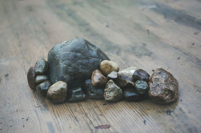 My 5 year old made a rock formation on the deck. I love the way he loves to build and create things High Angle View Rock Rock Formation Close-up Nature
