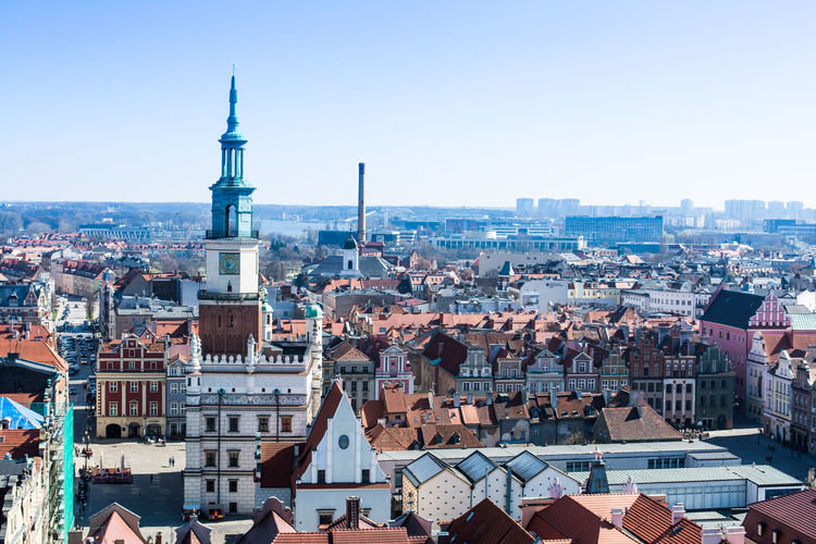 City Hall Old Town Poland Poznań Architecture Building Exterior Built Structure City Cityscape Clear Sky Crowded Day Dome High Angle View Outdoors People Residential Building Roof Sky Travel Destinations