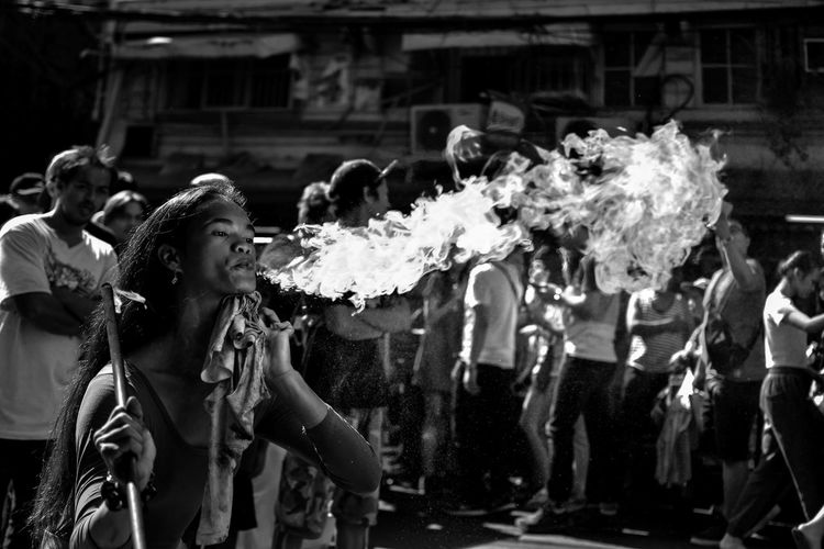 Girl on Fire. Streetphotography Bnw_friday_eyeemchallenge Street Streetphoto_bw Bnw_captures Bnw Bnw_life Bnw_worldwide Bnw_collection Bnw_society Bnw_planet #manila #bnw_worldwide Adult Only Women People Young Women Young Adult Outdoors Day Stories From The City Inner Power Visual Creativity Summer Exploratorium Adventures In The City Focus On The Story The Street Photographer - 2018 EyeEm Awards The Portraitist - 2018 EyeEm Awards The Traveler - 2018 EyeEm Awards The Photojournalist - 2018 EyeEm Awards