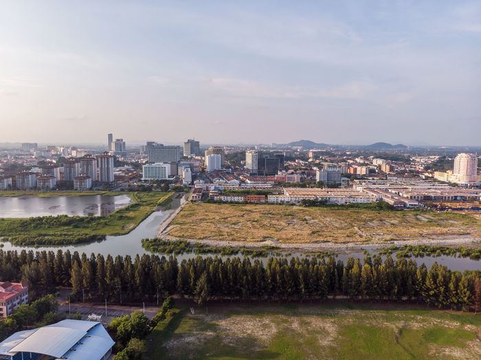 Building Exterior Architecture Built Structure City Sky Building Water Cityscape Nature High Angle View No People Residential District Plant Day Outdoors Cloud - Sky Tree Reflection River Melaka Malacca Malaysia ASIA Pulau Melaka Drone  Droneshot