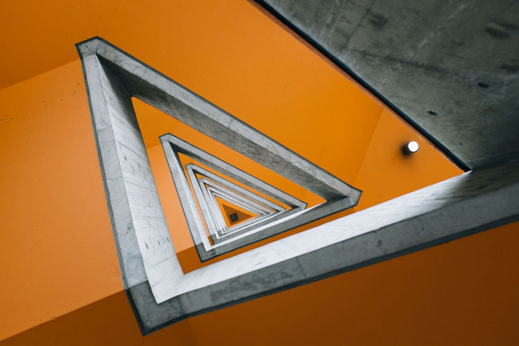 Directly above shot of triangle shape steps in building
