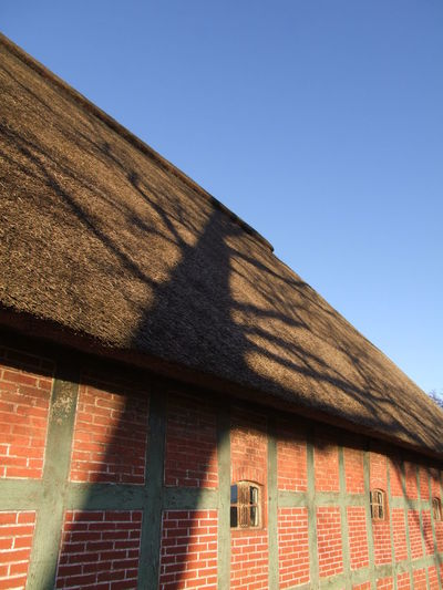 Farmhouse with shadow of a tree Architecture Bremen Brick Wall Building Exterior Built Structure Clear Sky Cloudless Day Farmhouse Germany Half-timbered House Half-timbered Houses Low Angle View No People Outdoors Roof Shadow Sky Sunlight Sunlight Sunny Thatched Cottage Thatched House Thatched Roof Window