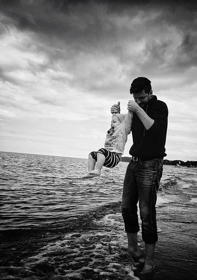 Fatherhood Moments Sea Beauty In Nature Handsome Father & Son Funtimes First Time Beach Hanging Around Happyness Children Childhood Having Fun With Kids Moments Of Life