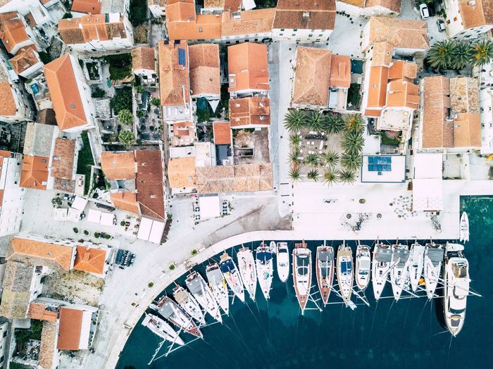 Vis harbor EyeEmNewHere Croatia Vis Mavic Pro Dji Drone  Rooftops Boats From Above  Houses No People Wall - Building Feature Pattern Creativity Backgrounds Multi Colored Architecture