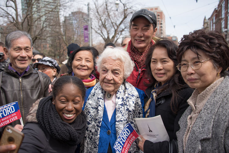 Hazel McCallion (center in blue clothes) during Rob Ford funeral march and ceremony. He was a former Toronto Mayor who lost the fight with cancer and passed away at 46 years old Ceremony City Dead Death Demonstration Fight Against Cancer Former Funeral Many March Mayor Morning People Personality  Rob Ford St. James Cathedral Supporters Toronto Urban Walking