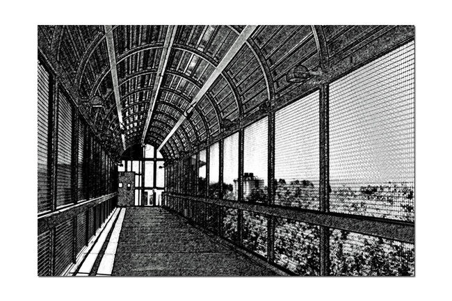 Train Station Catwalk 12 Jack London Square Port Of Oakland, Ca. Union Pacific Railroad Overpass Overpass View Catwalk Charcoal Edit Crossover Tracks To Terminal Building Arches Black & White Black And White Monochrome Black And White Collection  Pattern Pieces Black And White Photography