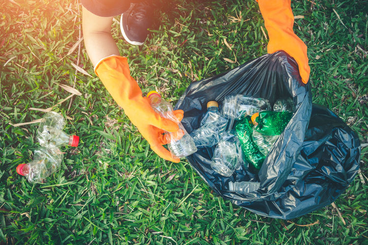 Volunteer Collection Field Garbage Garbage Bag Garbage Collection Grass Hand Nature Plastic