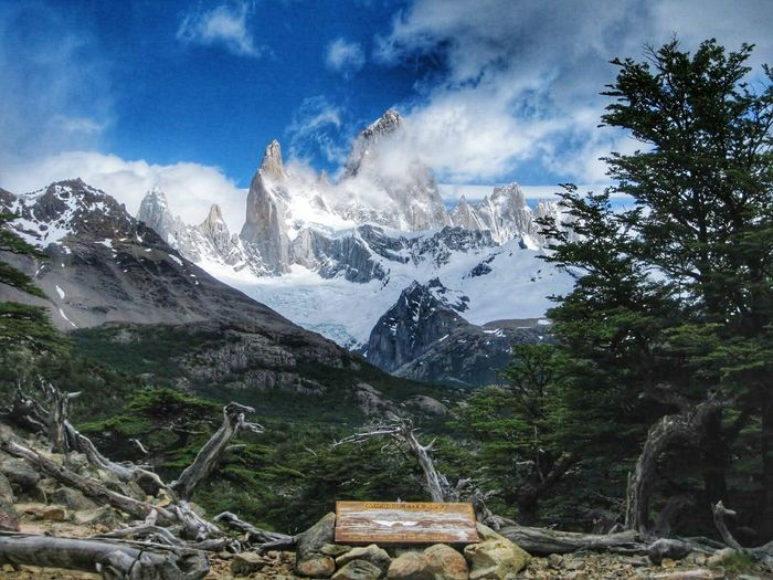 Mountain Snow Mountain Range Cloud - Sky Landscape Sky Outdoors No People Day Patagonia Argentina Fitz Roy Mountain Fitzroy Argentina Hiking Hike Traveling Travel Destinations Travel Nature Beauty In Nature Lifestyles Tranquility Tree Snowcapped Mountain EyeEm Gallery
