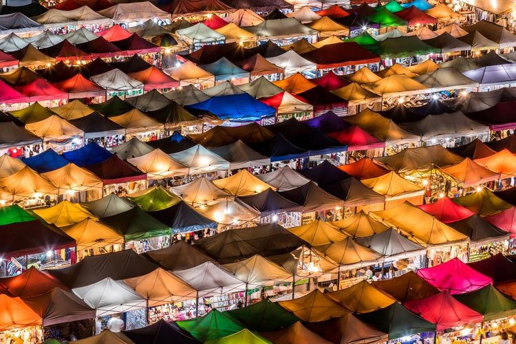 Full frame shot of multi colored tents in market
