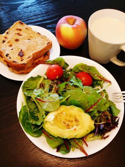 HongKong Healthy Food Healthyeating Bigmeal Salad Salad Face Food Porn Avocado Apple Soy Milkolive oil