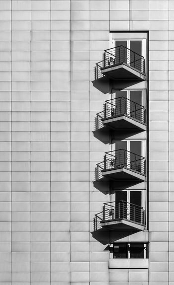 Black And White Black & White Modern Futuristic Balcony Architecture Building Exterior Built Structure Building No People Day Window Pattern Outdoors Low Angle View In A Row Office Office Building Exterior Wall - Building Feature Full Frame Glass - Material Repetition Side By Side City Apartment