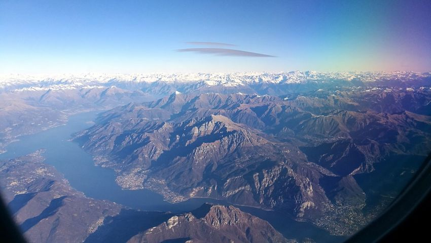 Landscape Beauty In Nature Aerial View Nature Outdoors Environment No People Cold Temperature Mountain Lake Cloud - Sky Plane View Traveling Side Window High Altitude in Alps, Italy🇮🇹