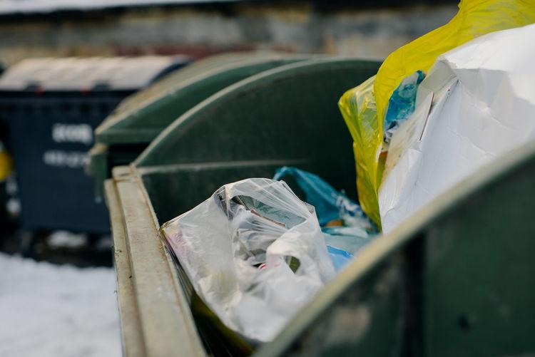 Close-up of garbage bin
