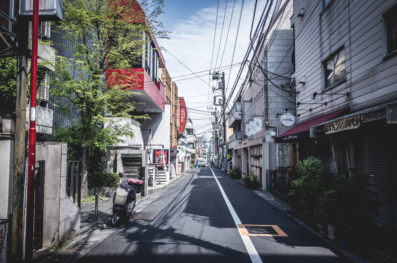 Backstreets & Alleyways Drastic Edit Japan Japan Lovers Perspective Road Sky And City Tokyo Alley Architecture Building Building Exterior Built Structure Car City City Street Day Diminishing Perspective Direction Incidental People Land Vehicle Mode Of Transportation Motor Vehicle Nature Outdoors Road Road Marking Sign Sky Spring Springtime Street Summer The Way Forward Transportation The Architect - 2018 EyeEm Awards The Street Photographer - 2018 EyeEm Awards