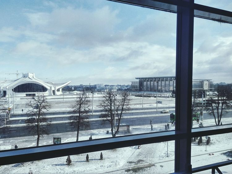 Snow Cold Temperature Winter Architecture Built Structure Cloud - Sky Sky No People Day City Outdoors Cityscape PhonePhotography Begginer Minsk Arhitecture Photography Watching Travel Photography Architectureporn BeginAgain Nature_collection Landscape_collection EyeEmNatureLover