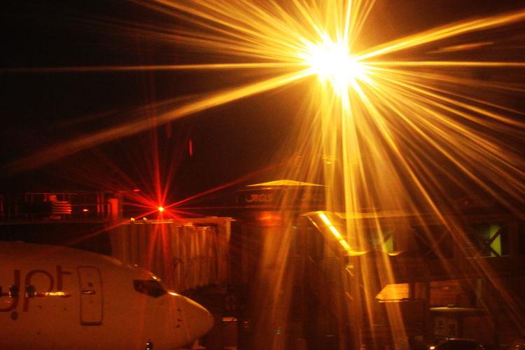 Landed Milano Airplane Finger Illuminated Light Beam Linate Mode Of Transport Night No People November 2017 Outdoors Transportation