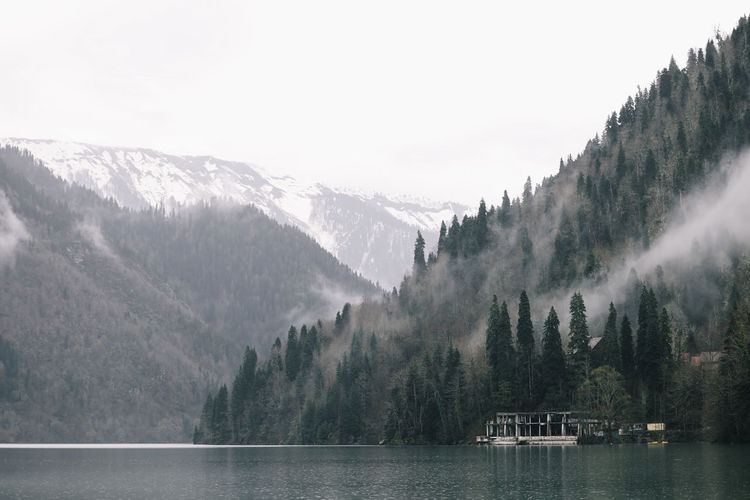 Natural landscape sea misty mountains outdoors